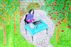 ¡La muchacha está trabajando en el jardín! Imagen de archivo libre de regalías