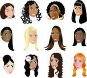 ¡La pertenencia étnica de la diversidad de las caras de las mujeres considera mis otras! Imágenes de archivo libres de regalías