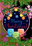 ¡La tarjeta con las ramas del pino, guirnalda del día de fiesta de la Navidad, encendió velas y Feliz Navidad del ` del texto del stock de ilustración
