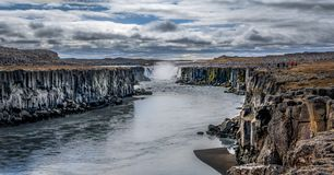 ¡Las cascadas de la tierra del hielo y del fuego!! Fotografía de archivo libre de regalías