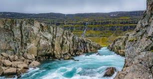 ¡Las cascadas de la tierra del hielo y del fuego!! Fotos de archivo libres de regalías