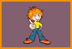 ¡Muchacho con thumb-up! Imagenes de archivo