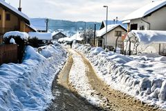 ¡Nieve en las calles y los hogares! fotografía de archivo libre de regalías