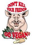 ¡No mate a sus amigos - va el vegano! Ilustración del Vector