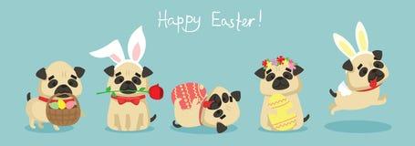 ¡Pascua feliz! Tarjeta con el perro de perrito lindo stock de ilustración