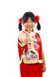 ¡Pequeña muchacha asiática - pulgares para arriba! Foto de archivo libre de regalías