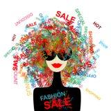 ¡Quiero venta! Mujer de la manera con concepto de las compras stock de ilustración