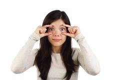 ¡Retén despierto! Mujer sorprendida imágenes de archivo libres de regalías
