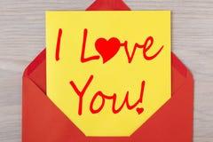 ¡Te amo! Día del ` s del amor y de la tarjeta del día de San Valentín Foto de archivo