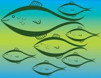 ¡Van los pescados! Ilustración del Vector