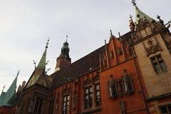 ¡Wroclaw, Polonia, edificios de la ciudad! imagen de archivo