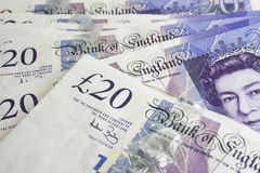 £20 Notes from England. A pile of £20 notes from the bank of england royalty free stock photo
