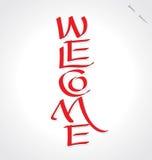«Ευπρόσδεκτη» εγγραφή χεριών Στοκ Φωτογραφία