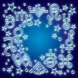 «Astrological diadem», the excerpt of some recent astrological signs and occult mystical symbols.. Astrological pattern, celestial background with vector illustration
