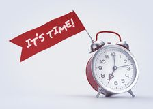«It`s Time!» Alarm Message. Old-fashioned alarm clock with a red banner and handwritten phrase on it. 3D rendered graphics on light background Royalty Free Stock Photos