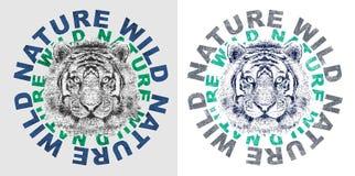 «natury dzika «typografia, trójnika koszulowy druk ilustracja wektor