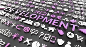 «rozwoju «słowo z 3d ikonami royalty ilustracja