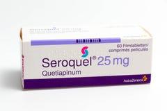 ¬â€œ 03 del 'Svizzera/di Ginevra ââ 03 2019: Droghe di terapia del farmaco antideprimente dell'ansiolitico delle pillole di Sero immagine stock