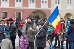 1° dicembre 2017 Brasov Romania, festeggiamenti di festa nazionale dentro nel quadrato del Consiglio Fotografia Stock Libera da Diritti