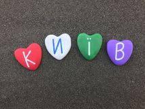 ² de КиÑ-Ð, Kiev, Ucrania, recuerdo con las piedras coloreadas del corazón imágenes de archivo libres de regalías