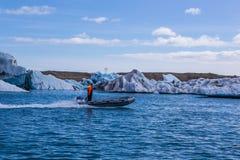 ³ azul n laguna-Islandia del rlà del ¡del hielo-Jökulsà del glaciar Imagen de archivo libre de regalías