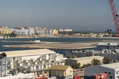 ³ n de La LÃnea de la Concepcià da rainha Elizabeth em Gibraltar Imagens de Stock