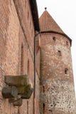 ³ w, pomorskie/Polonia - 05 febbraio, 2019 di BytÃ: Città del ³ w di BytÃ, del castello teutonico, del museo e dell'hotel immagine stock