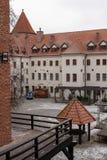 ³ w, pomorskie/Polonia - 05 febbraio, 2019 di BytÃ: Città del ³ w di BytÃ, del castello teutonico, del museo e dell'hotel fotografia stock libera da diritti