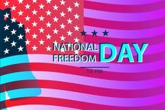 1º de fevereiro ilustração nacional do dia da liberdade com Liberty Bell como um símbolo da liberdade molde dos cartazes Foto de Stock Royalty Free
