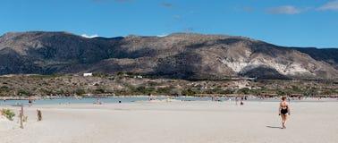 1º de outubro de 2017, Elafonissi, praia de Grécia - de Elafonissi fotografia de stock