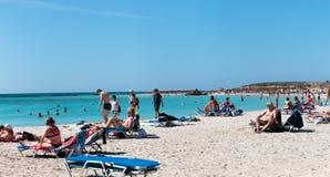 1º de outubro de 2017, Elafonissi, praia de Grécia - de Elafonissi foto de stock royalty free