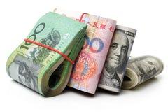 ¼ ŒAustralian do ï das contas de dinheiro do dólar e rmbrmb fotografia de stock royalty free