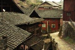 ¼ rurale di legno ŒPhotography del villageï di ŒChinese del ¼ del houseï fotografie stock