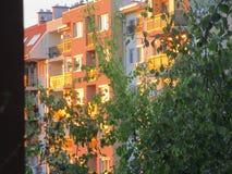¾ n du coucher du soleil Ð les fenêtres sur un skayscarper Photos libres de droits