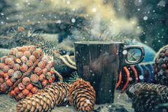 ¿? encima de té caliente en una tabla de madera rústica Todavía la vida de conos, guita, patskthread, abeto ramifica Nieve dibuja Imagenes de archivo