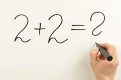 ¿2x2=? Imagen de archivo libre de regalías