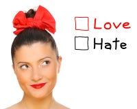 ¿Amor u odio? Imágenes de archivo libres de regalías