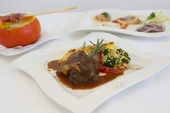 ¿Carne asada con mit K de Pumpkinsoup - de Braten? uppe Foto de archivo libre de regalías