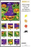 ¿Criba de la imagen de Halloween con el sombrero de la bruja - qué no pertenece? Foto de archivo