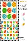 ¿Criba temática de la imagen de Pascua con el modelo pintado de los huevos - qué no pertenece? stock de ilustración