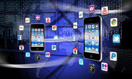 ¿Cuál es apps está en su red del teléfono móvil? Fotos de archivo
