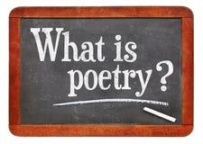 ¿Cuál es poesía? Una pregunta sobre la pizarra Imagen de archivo