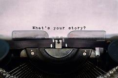 ¿Cuál es su historia? imagen de archivo