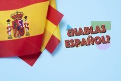 ¿Pregunta usted habla español? en español Imagenes de archivo