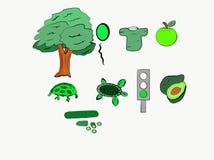 ¿Qué clase de cosas es el color verde? libre illustration