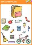 ¿Whaten el bolso de escuela? Dibuje un círculo alrededor de cada cosa foto de archivo