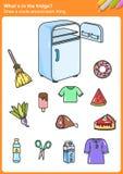 ¿Whaten el refrigerador? Dibuje un círculo alrededor de cada cosa foto de archivo