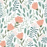 Seamless floral design with hand-drawn wild flowers. Repeated pattern vector illustration.