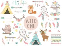 Сollection of hand-drawn boho style icons. The image of animals, arrows, feathers, flowers, wigwam, dreamcatcher.