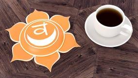 Сup of coffee on a wooden table. Morning Chakra Meditation. Svadhistana symbol 3d illustration